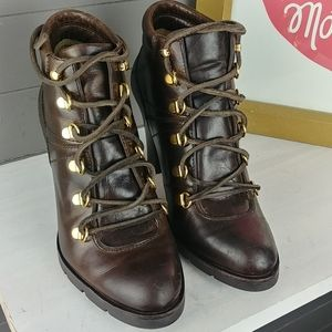 Michael Kors Leather Lace up Booties